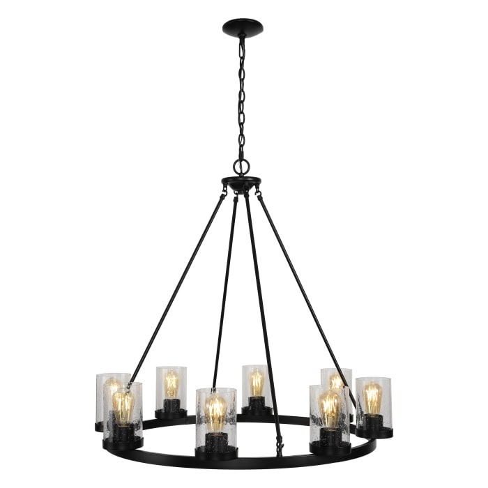 Pablo Ring 8 Light Iron and Seeded Glass Chandelier