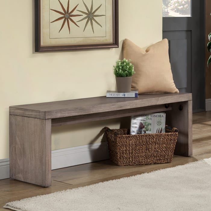 Fiji Wood Bench in Weathered Gray