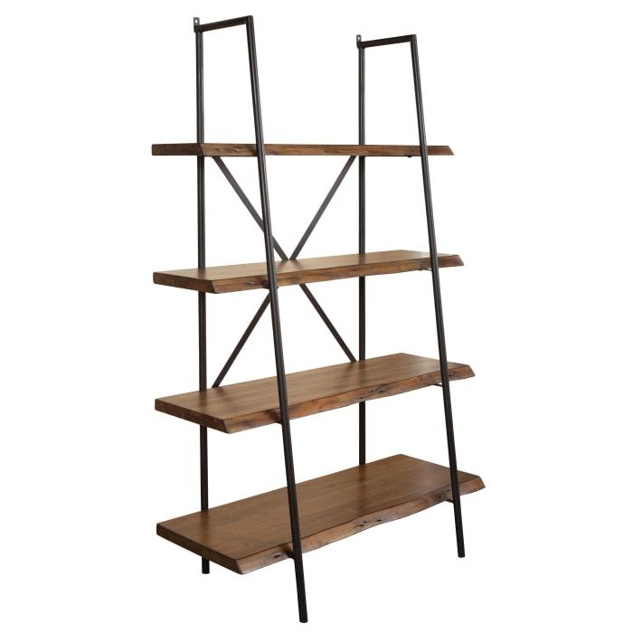 Live Edge Wood 4 Shelf Bookshelf in Light Walnut