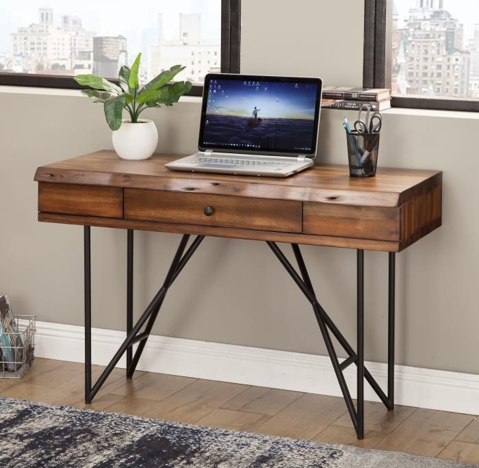 Live Edge 1 Drawer Wood Writing Desk in Light Walnut