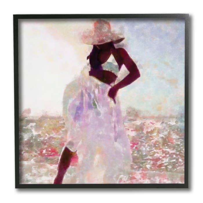 Fashion Style Female Dancing in Floral Field Black Framed Wall Art