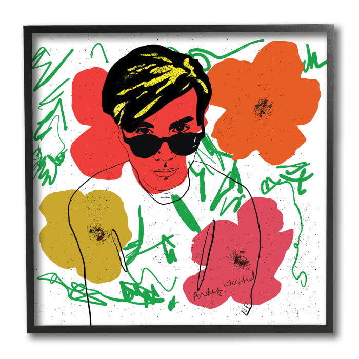 Andy In Glasses Expressive Artist Abstract Flowers Black Framed Wall Art, 12 x 12
