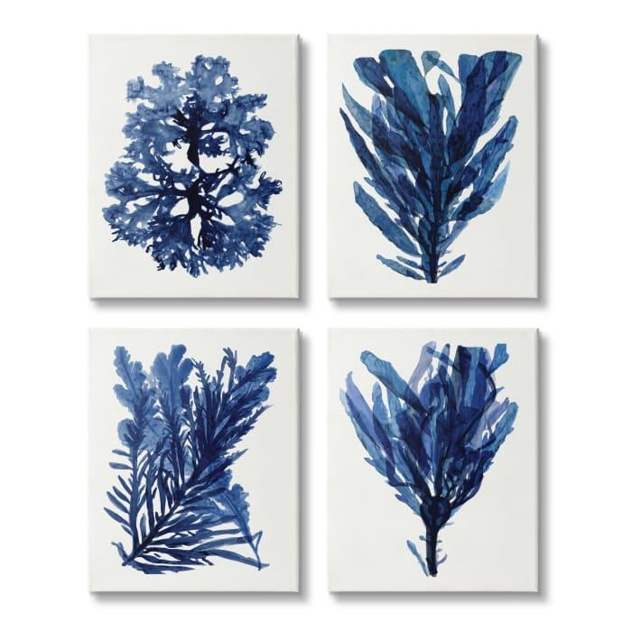 Indigo Blue Ocean Plants Coastal Sea Kelp Canvas Wall Art, 16 x 20
