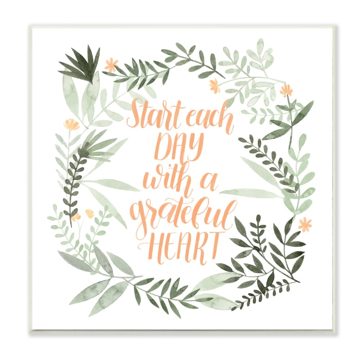 Grateful Heart Phrase Soft Green Floral Plants Wood Wall Art, 12 x 12