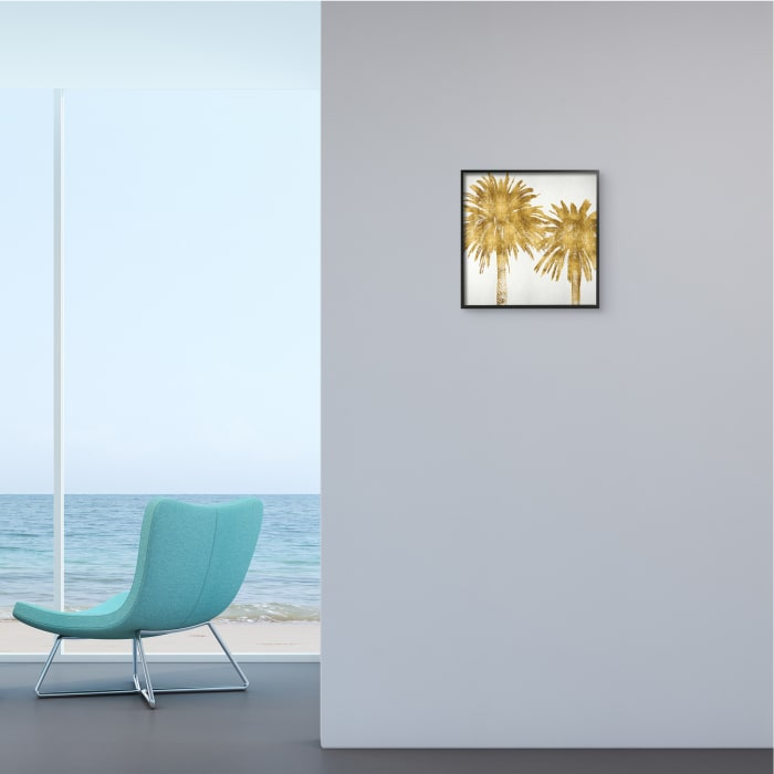 Summer Glam Palm Trees Over Off-White Black Framed Wall Art, 12 x 12