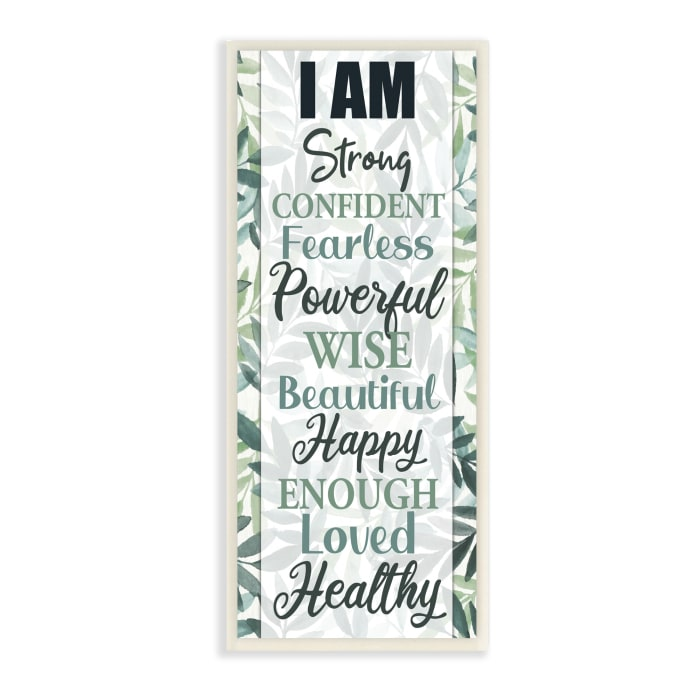 I Am Inspirational Phrases over Tropical Green Palms Wood Wall Art, 7 x 17
