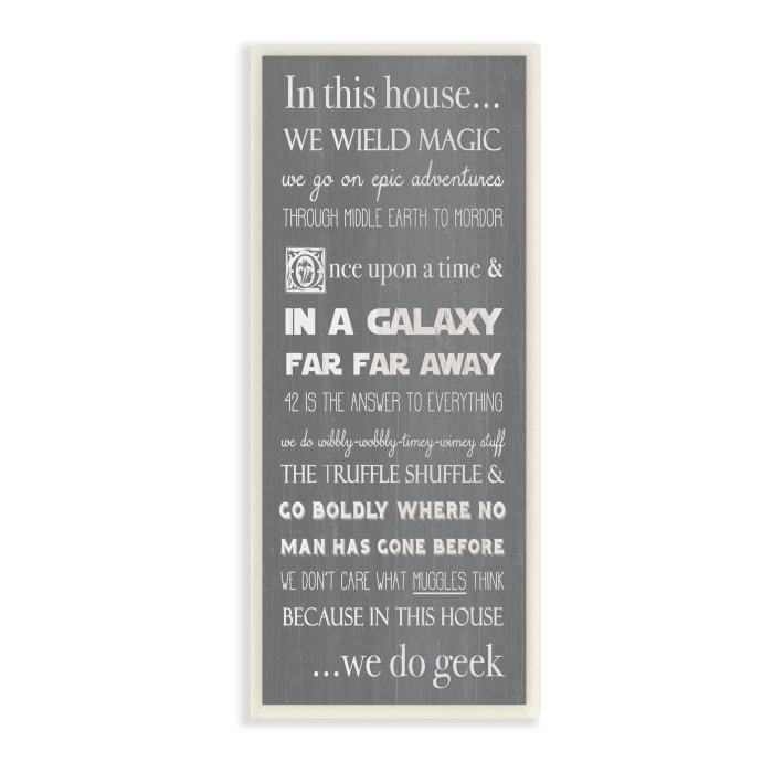In This House Phrase Family Movie Night Quotes Wood Wall Art, 7 x 17