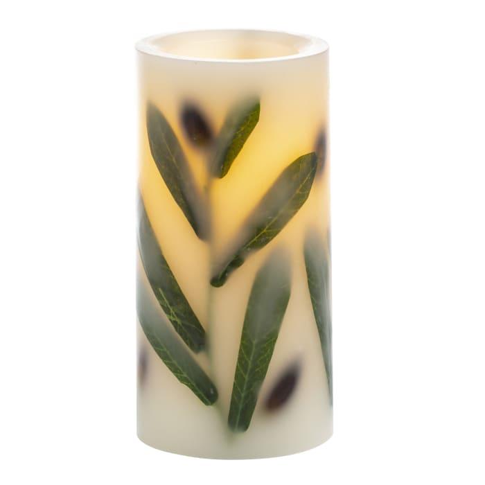 Essentials Flameless LED Olive Leaf Pillar Candle,  3