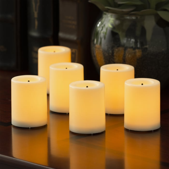 Expressions Flameless LED Wax Votive Candles, 6-Pack, Cream