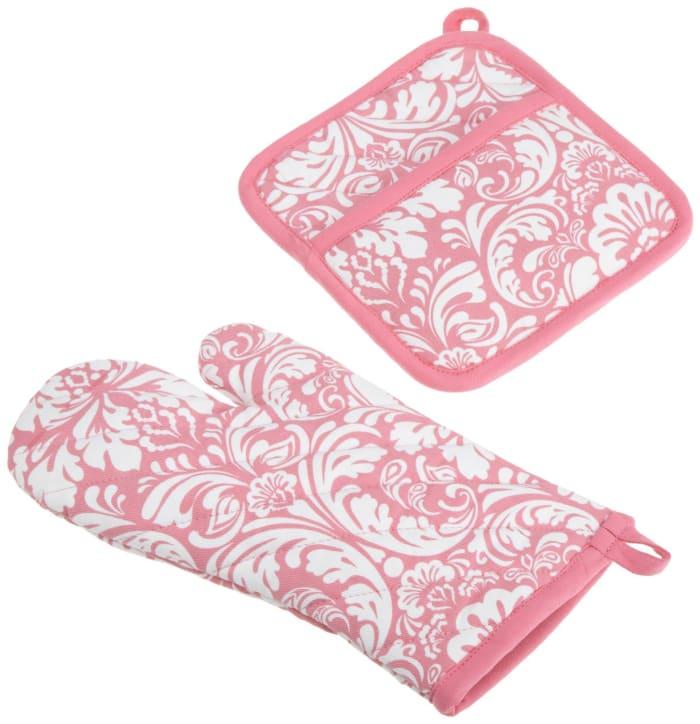 Pink Floral Set of 2 Swirl Kitchen