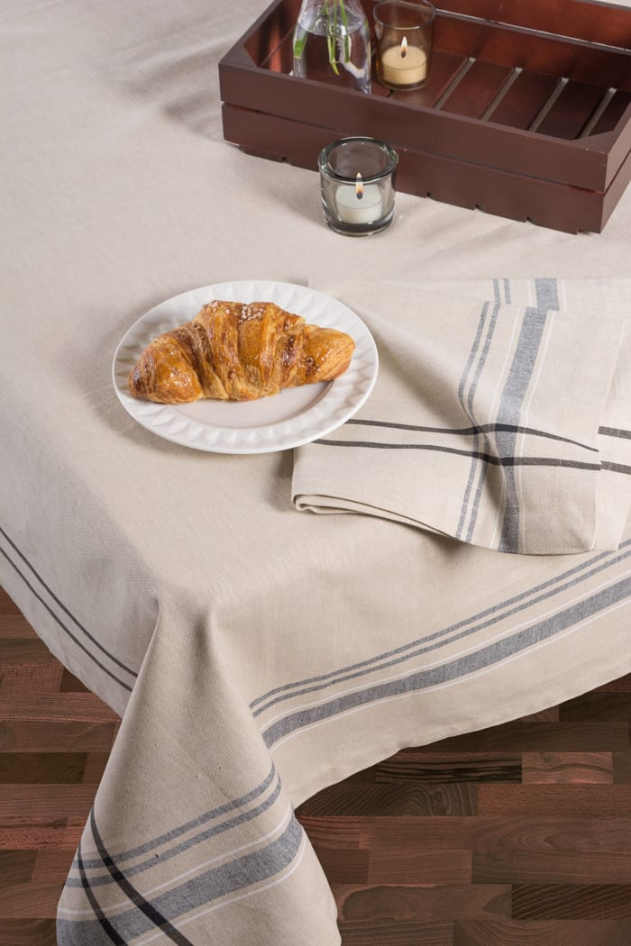 Madeleine  Black Cotton Tablecloth