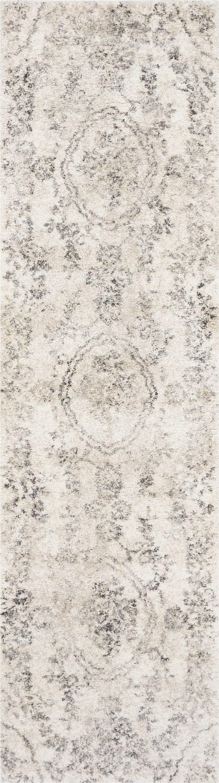 Light Grey Floral Area Rug