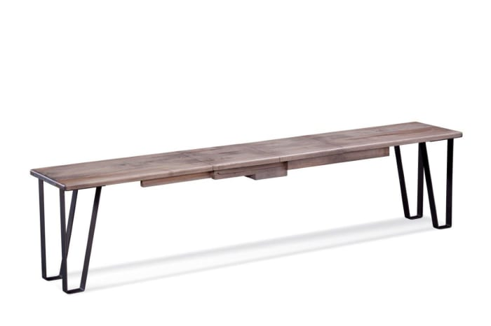 Gray Ash Raw Edge Maple And Black Steel Bench