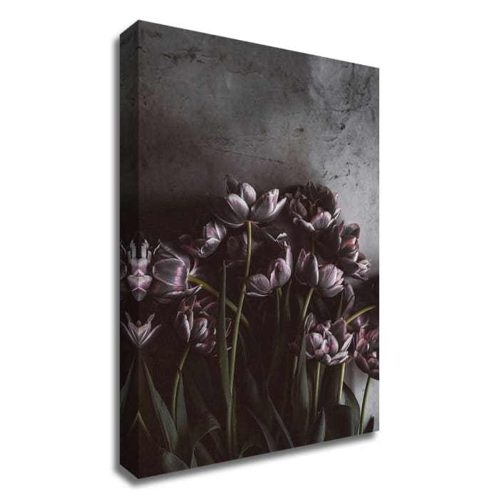 Dark Tulips by Design Fabrikken Wrapped  Canvas Wall Art