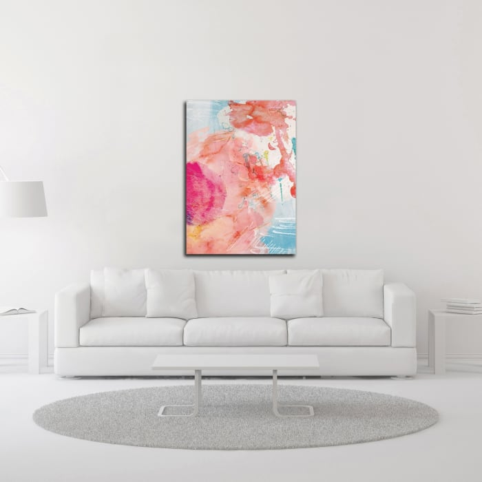 Abstract Turquoise Pink No. 1 by Louis Duncan-He Canvas Wall Art