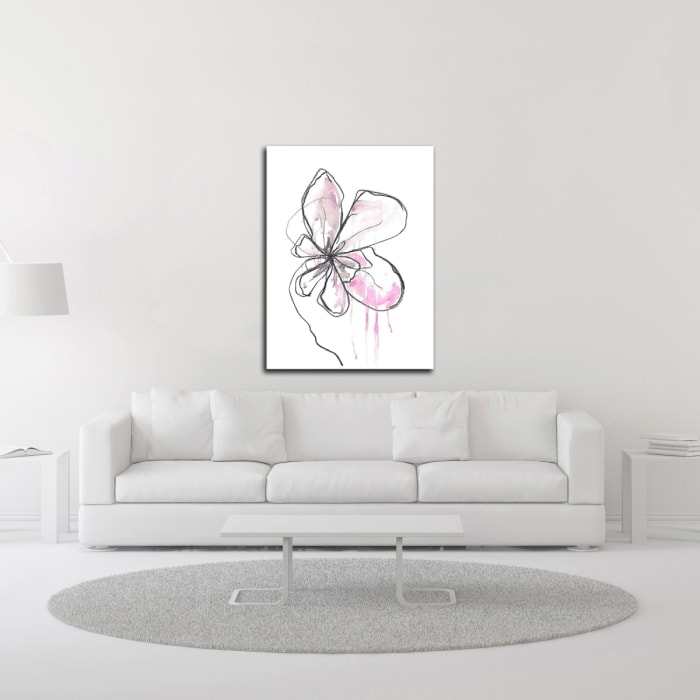 Pink Modern Botanical by Jan Weiss  Wrapped Canvas Wall Art