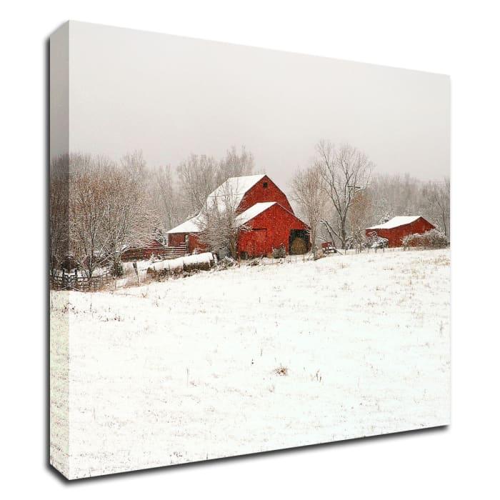 Union Co. Barn and Snow by David Hammond Canvas Wall Art