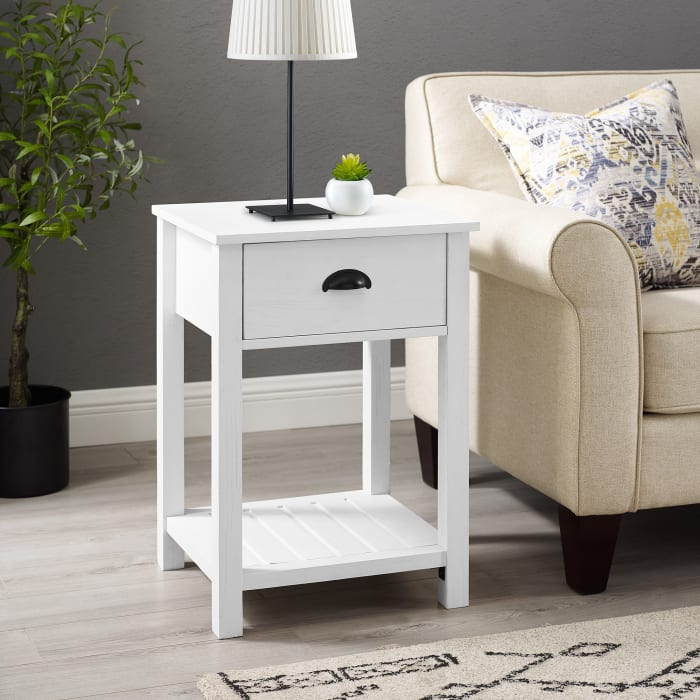Brushed White 1-Drawer Country Side Table