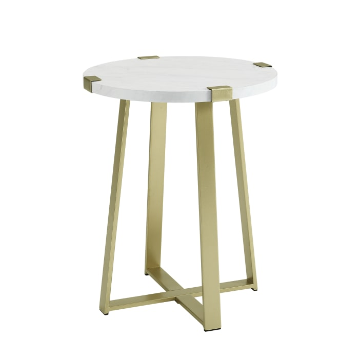 White Faux Marble/Gold Rustic Side Table