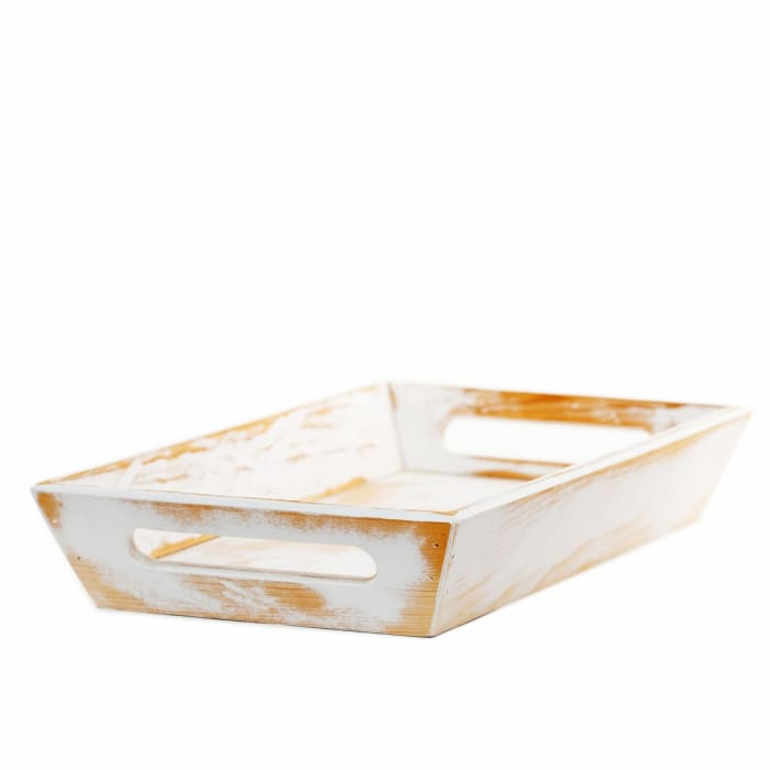 Handmade White Decorative Wood Tray