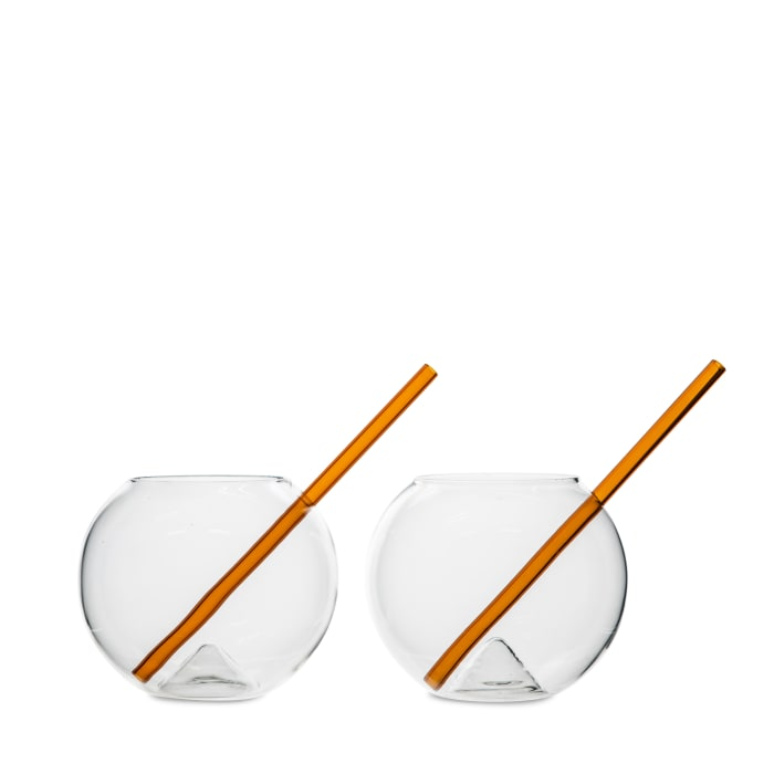 Glass with straw Magaluf 2-pack Amber