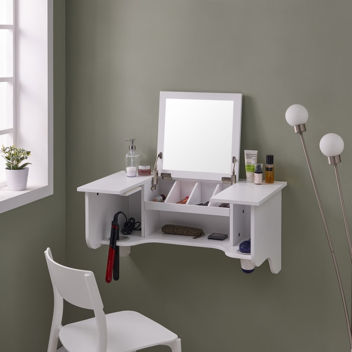 Wall Mount White Ledge With Vanity Mirror