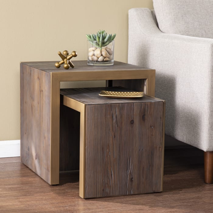 Attard  Reclaimed Wood Nested Set of 2 Accent Tables