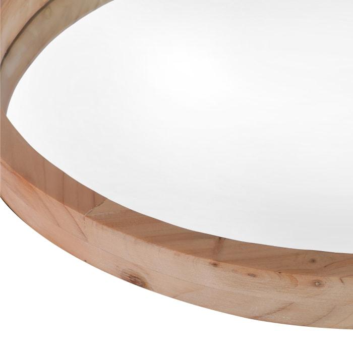 Natural Brown Wooden Round Wall Mirror