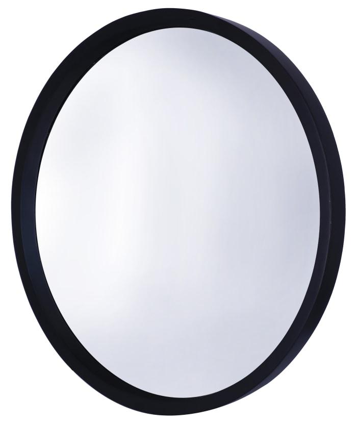 Black Wooden Round Wall Mirror