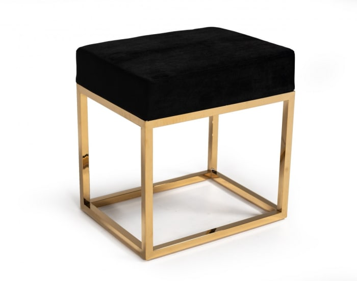 Gold Stainless Steel with Square Modern Black Velvet Ottoman