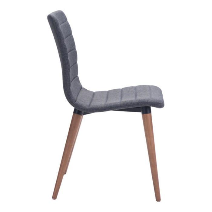 Gray Powder Metal Set of 2 Dining Chairs