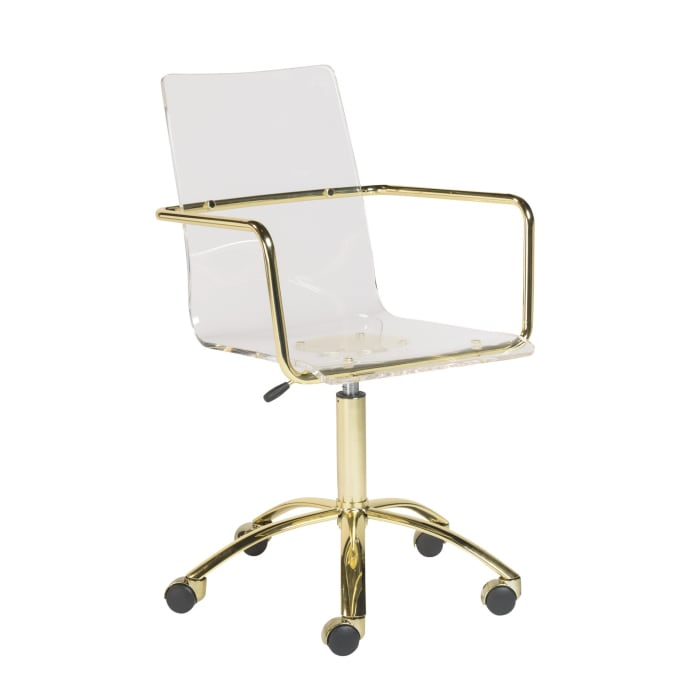 Clear Acrylic with Gold Base Rolling Office Chair
