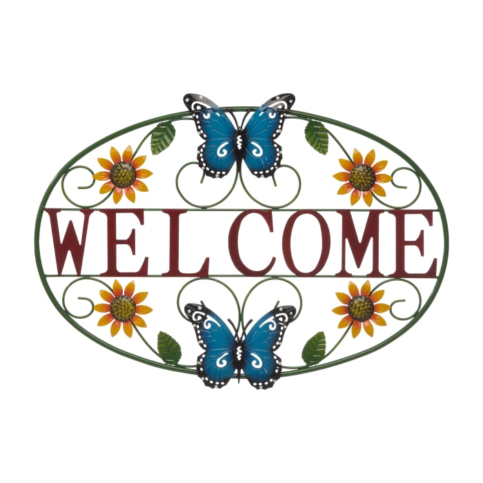 Welcome Butterfly Metal  Wall Decor