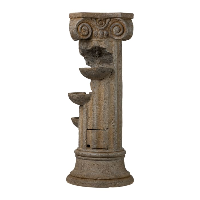 Grecian Pedestal Outdoor Fountain with LED Lights
