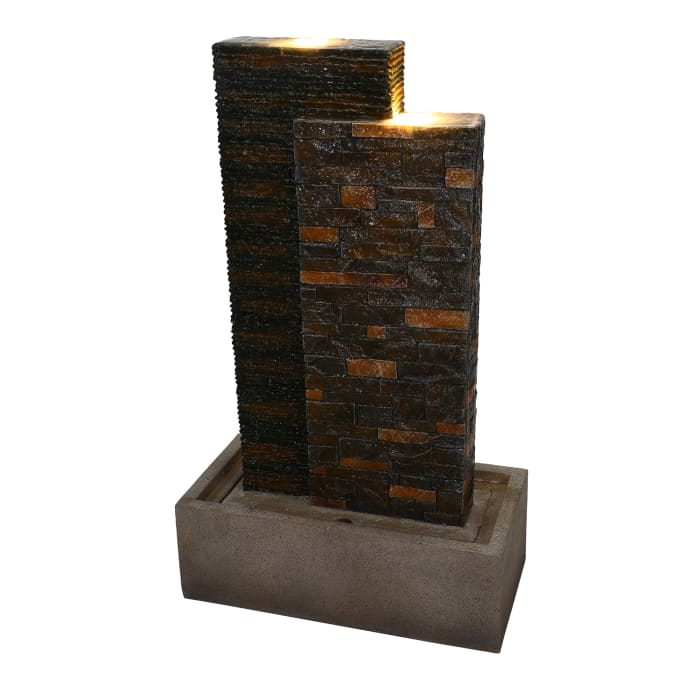 Stacked Brick Outdoor Fountain with LED Lights