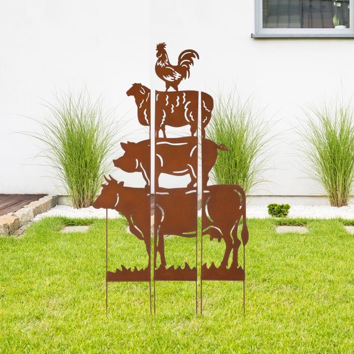Farmhouse Metal Rustic Animals Silhouette Yard Stake