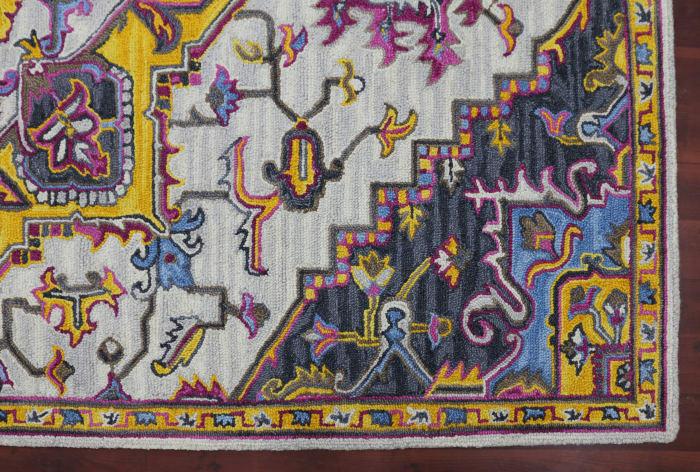 Bonny Dean Yellow/Pink Wool Area Rug