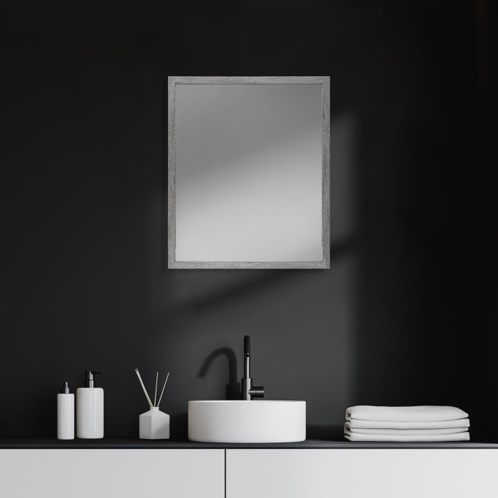 Grey Faux Wood Frame Vanity Mirror