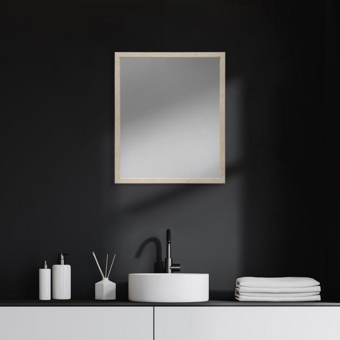 Tan Faux Wood Frame Vanity Mirror