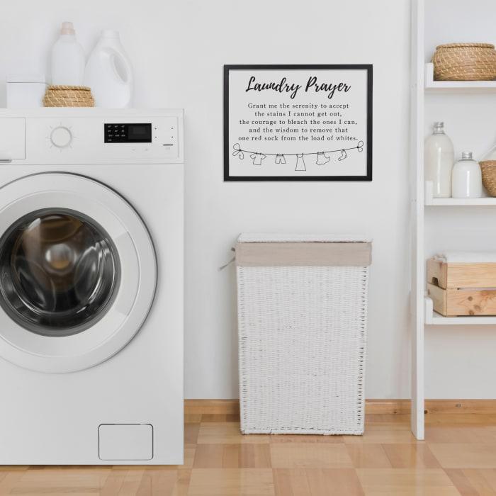 Laundry Prayer Black And White Wall Art