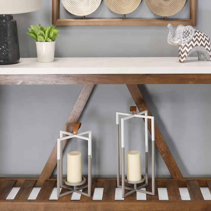 Grey and White Farmhouse Metal Lantern Candle Holder