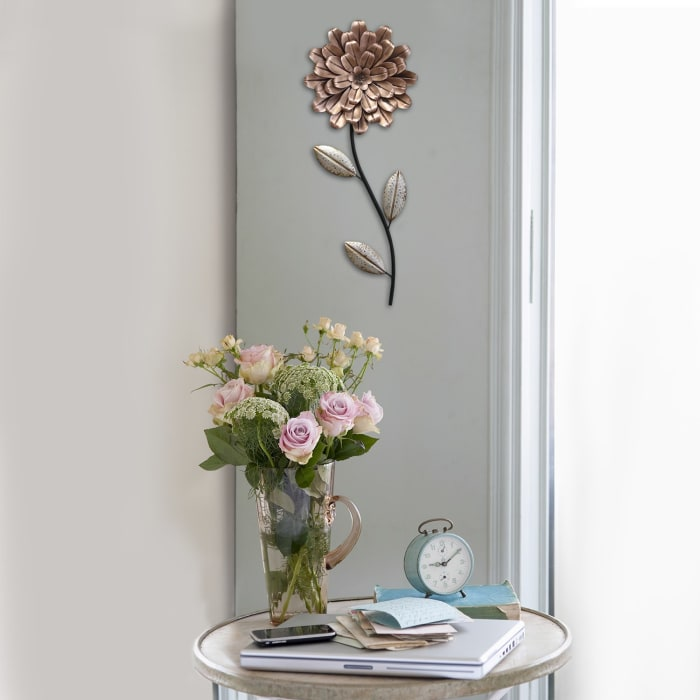 Romantic Flower Stem Metal Wall Decor