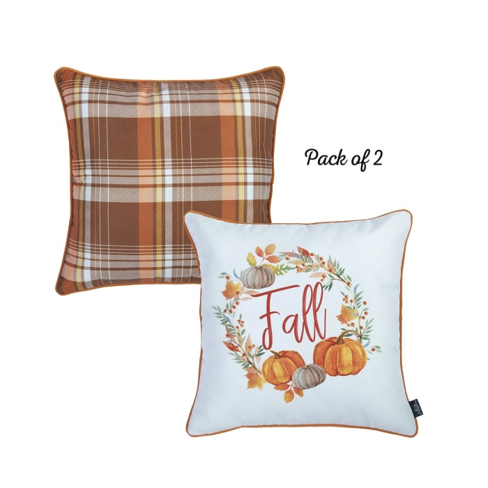 Fall Pumpkin Multicolor Set of 4 Throw Pillow Covers
