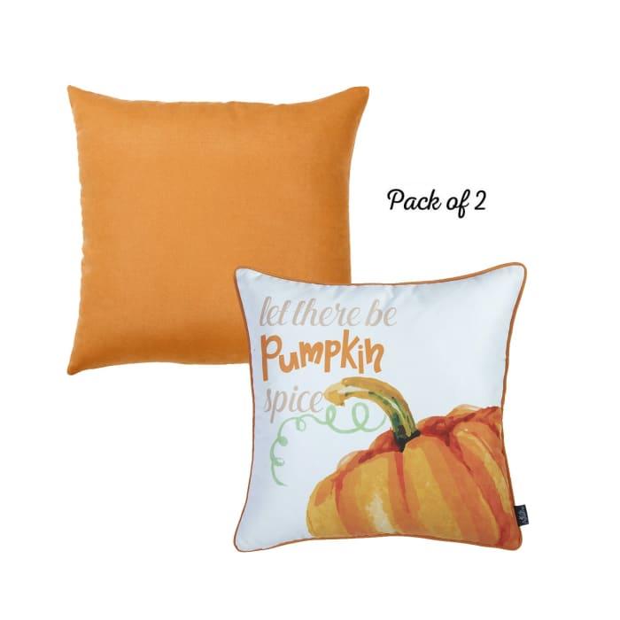 Fall Season Pumpkin Pie Set of 2 Multicolor Throw Pillow Covers