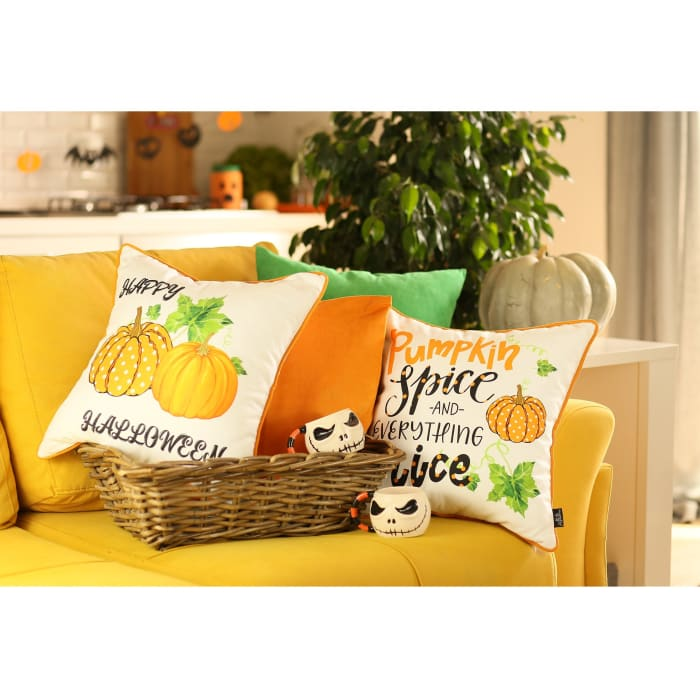 Fall Pumpkin Spice Harvest Set of 4 Multicolor Throw Pillow Covers