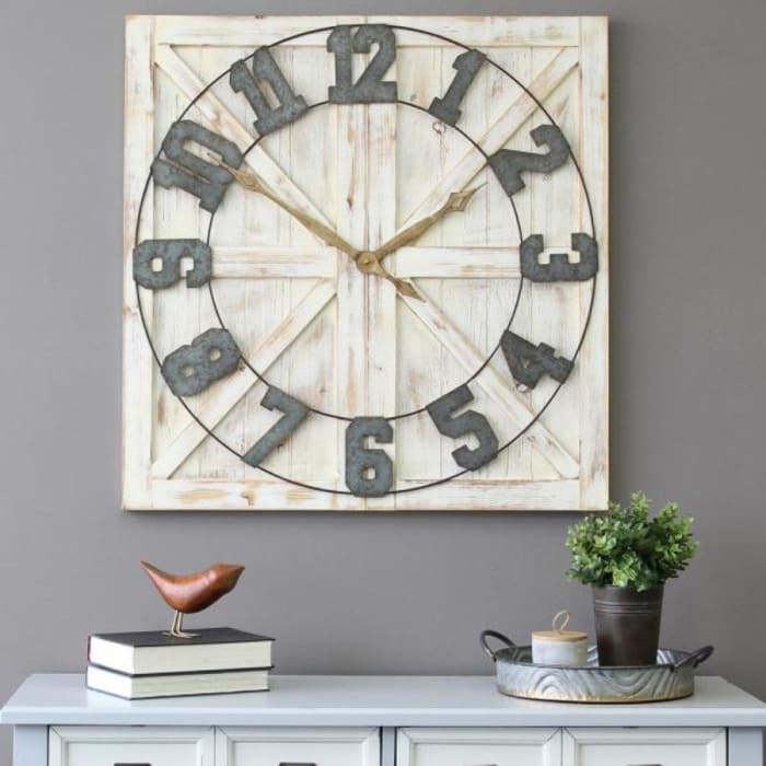 Square Distressed Wood and Metal with Vintage Touch Wall Clock