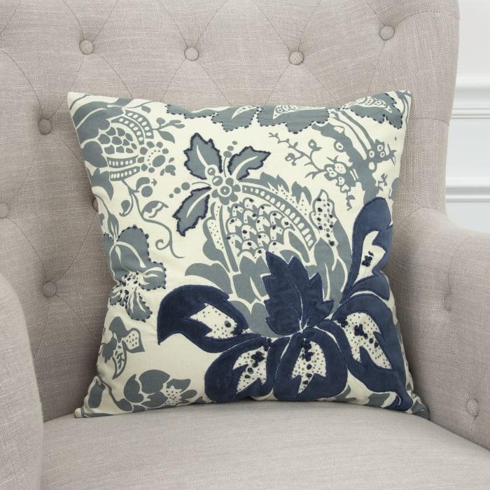 Floral Cotton Blue Pillow Cover