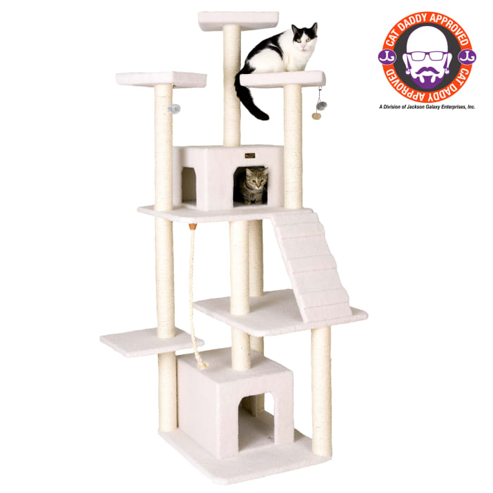 Ivory Classic Cat Tree Jackson Galaxy Approved, Multi Levels with Ramp, Three Perches, Rope Swing, Two Condos