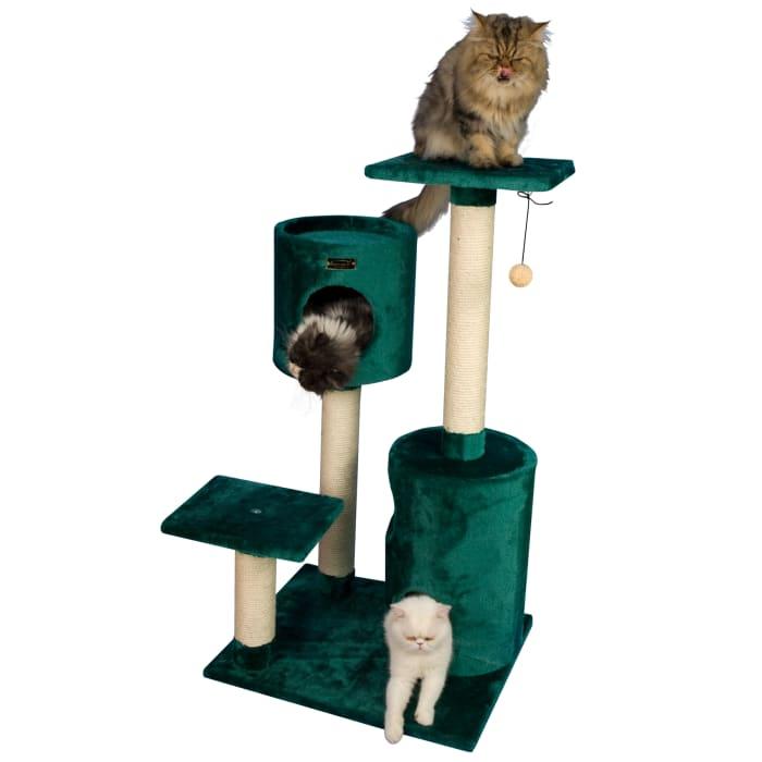 Beige Cat Tree Condo House with 2 Private Condos