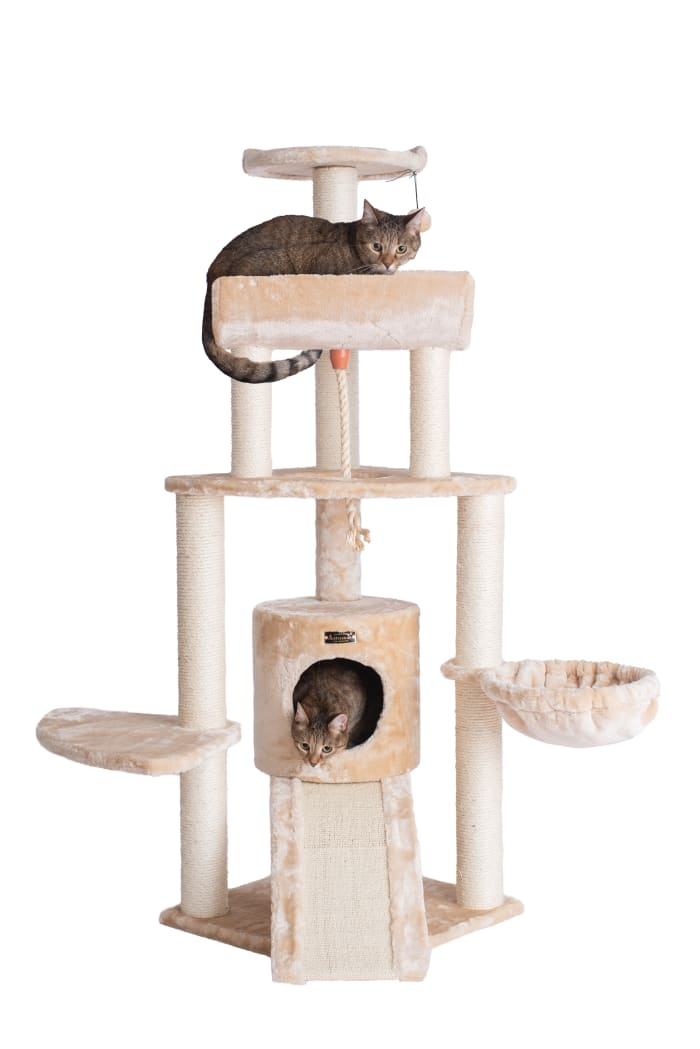 Beige Spacious Thick Fur Cat Tower with Basket Lounge, Ramp